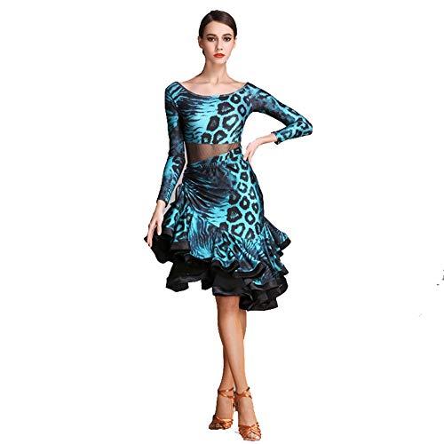 FF Leopard Latin Performance Rok, Adult Latin Dance pak Vrouw Nationale Standaard Dans Kostuum Nieuwe Latijnse Dans Jurk