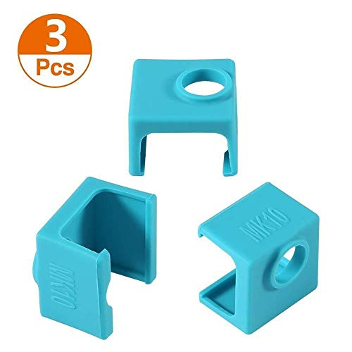HUANRUOBAIHUO 3D Printer MK10 Silicone Socks, Aokin 3 Pcs MK10 Heater Block Silicone Cover for Wanhao Duplicator i3 Mini Monoprice V2 Makerbot 3D Printer Parts (Color : Blue, Size : 3pcs blue)