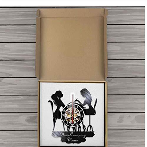 JHLP aangepaste muur horloge Salon reloj pared met uw bedrijfsnaam Logo Vinyl Record zwarte muur klok schoonheid Shop Decor