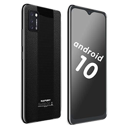 Hafury Günstig Smartphone ohne Vertrag Dual SIM, 4G-LTE Handy 5.5 Zoll Display mit 3100mAh Akku, 2GB + 16GB, 128GB erweitbar, Android 10, 3 Kameras, Face ID