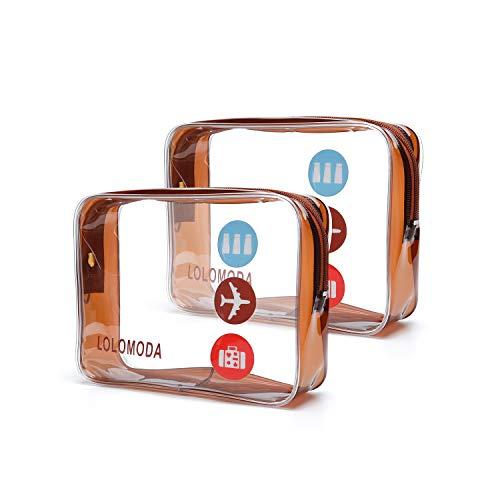 Trousse de Toilette Transparente 2 Pcs, Kit de Voyage pour l'Avion, Set de Voyage dans Bagages à Main, Sac Cosmétiques pour Hommes et Femmes TSA Sac de Transport Conforme à la Norme (Or)