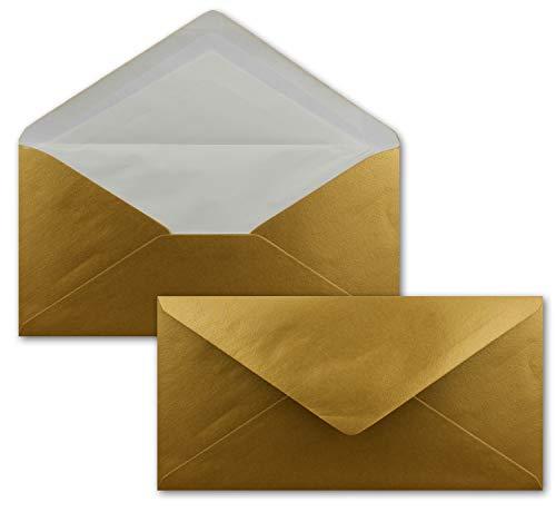 50 x DIN Lang Briefumschläge - bunt mit weißem Seidenfutter - Gold - 11x22 cm - 100 g/m² - ideal für Einladungen, Weihnachtskarten, Glückwunschkarten aus der Serie Farbenfroh