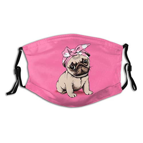 Cute Pug Dog Wearing a Bow Turban Reusable Face Mask with 2 Filters, Pink Cartoon Animal Dogs Scarf with Nose Wire Adjustable Washable Fabric Bandanas with Filter Pocket for Family Men Women