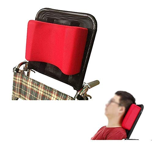 BBG Wheelchair Headrest Neck Suppor Head Padding, Adjustable Cushion for 16-20' Wheelchair Folding/Red
