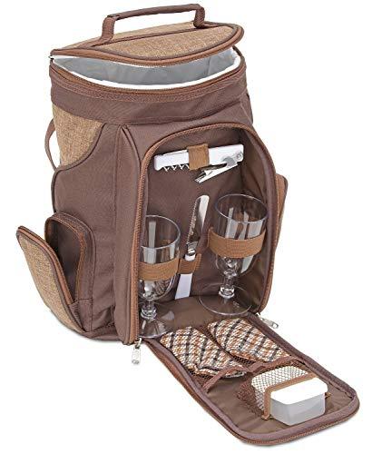 Brubaker Kühltasche für 2 Flaschen Wein und Champagner bis 1,5 l, gepolsterte Weinkühltasche - Picknicktasche isoliert, Thermotasche - tragbar mit Henkel oder als Rucksack