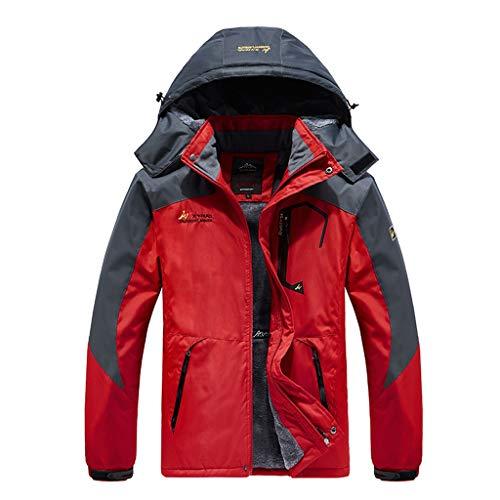BUKINIE Herren Wasserdichte Skijacke Warm Winter Schnee Mantel Mountain Windbreaker Kapuze Regenmantel Snowboardjacken Outwear Gr. XXL, rot