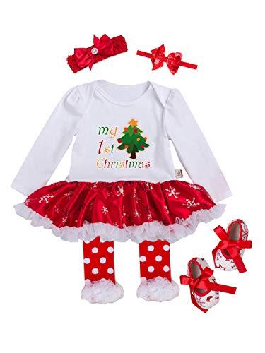 URBEAR Neonata Bambina Mio Primo Costume della Santa del Partito del Abitini Vestito 5 pz Albero di Natale 18-36 Mese