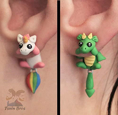 Einhorn oder Drache Ohrringe. Aus Fimo gefertigt. Paarweise verkauft.