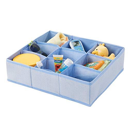 mDesign boîte de rangement en fibre synthétique pour chambre d'enfants, salle de bain, armoire, etc. – module de rangement fibre synthétique – boîte en tissu à 9 compartiments – bleu à motif chevron