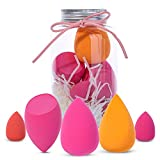 Beauty Blender Set Makeup Sponges for Foundation Beauty Blender Sponges Set for Liquid Dry Foundation (pink 5 pieces normal size and mini size)