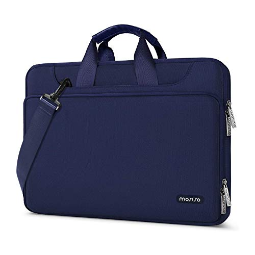 MOSISO 360 Protective Laptop Shoulder Bag Compatible with MacBook Pro 16 inch, 15 15.4 15.6 inch Dell Lenovo HP Asus Acer Samsung Chromebook, Water Repellent Sleeve Case with Trolley Belt, Navy Blue