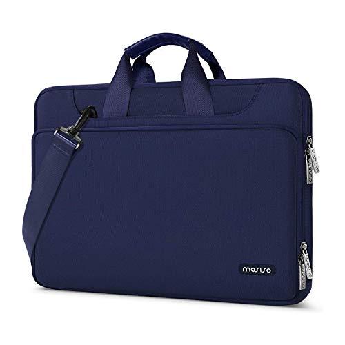 MOSISO Laptop Hulle Tasche Kompatibel mit MacBook Pro 16 Zoll 15 154 156 Zoll Dell Lenovo HP Asus Acer Samsung Chromebook360 Schutz Wasserabweisende Schultertasche mit Trolley Gurtel Navy Blau