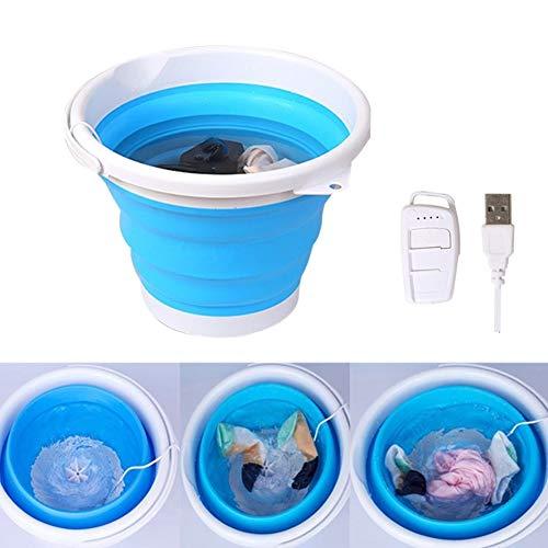 MQMT Portable Folding Bucket Washing Machine 10L Travel Portable Fold Bucket Super Vibration Wave Turbo Washer TUB Little Apartment, Underwear Wash, Baby Cloth Washing Machine,luckyqq