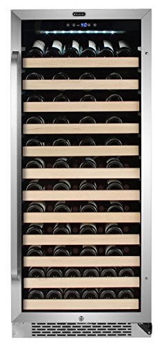 Whynter BWR-1002SD 100 Built-in or Freestanding Stainless Steel Compressor Large Capacity Wine Refrigerator Rack for open bottles and LED display, Black
