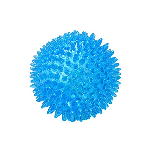 YAMAZA Bola para masticar para mascotas, con función de cuidado dental, bola para perros, juguete para masticar, hecha de TPR en calidad alimentaria, adecuada para perros de todo tipo de cuerpo (azul)