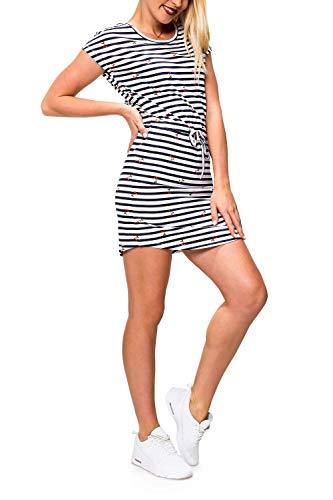 ONLY Damen Jerseykleid Freizeitkleid Sommerkleid Shirtkleid Print (XL, Cloud Dancer/Cherry Stripe)