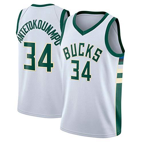 YIXUAN Uomo Maglia Jersey Milwaukee Bucks #34 Giannis Antetokounmpo Swingman Maglia da Basket (Bianco e Verde, XL (52))