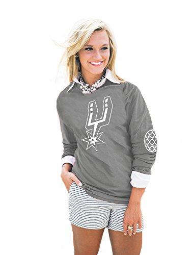 NBA San Antonio Spurs Women's Puff Print Elbow Patch Tee, Large, Gray