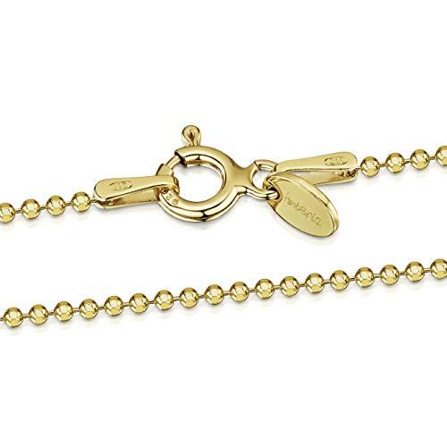 Amberta® Joyería - Collar - Fina Plata De Ley 925-18K Chapado en Oro - Diamante Corte- Cadena de Bola - 1.2 mm - 40 45 50 55 60 70 cm (70cm)