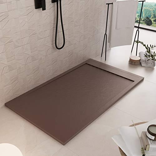 Luminosa ArredoBagno Plato de ducha de resina de 100 x 80 cm – Efecto piedra antideslizante con Gelcoat – Modelo Luxury Marrón – Rejilla de color liso y desagüe incluidos