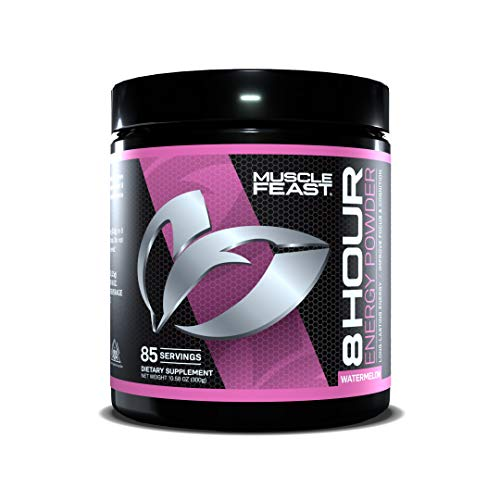 MUSCLE FEAST 8 Hour Energy, Watermelon, Keto Friendly Preworkout and NO Sugar, Focus and Mental Clarity, Increase Metabolism, 85 Servings