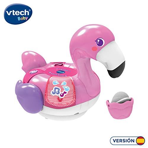 VTech-¡Al Agua Pequeño Flamenco Juguete electrónico para el baño con Voces, Sonidos, Luces y Canciones. (3480-516222)