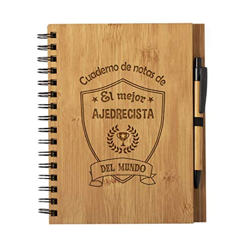 Cuaderno de Notas el Mejor ajedrecista del Mundo - Libreta Jugador Ajedrez de Madera Natural con Boligrafo Regalo Original Tamaño A5