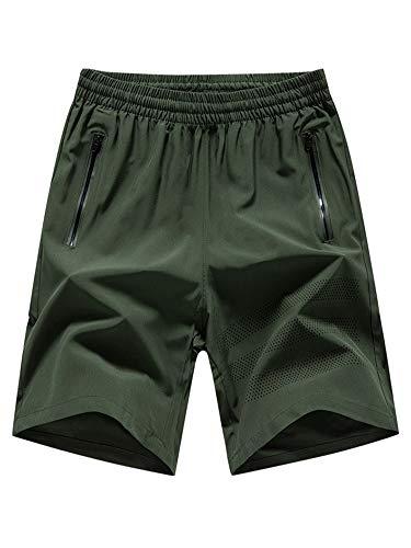 Abtel Pantalones cortos deportivos sueltos de secado rápido para hombre, tallas grandes, cintura elástica, pantalones de entrenamiento con cremallera