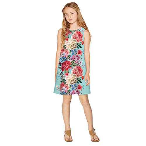 aihihe 2020 Girls Summer Beach Dress Sleeveless Casual Soft Floral Print Tank Dresses Outfit Sundress 7-12 Years