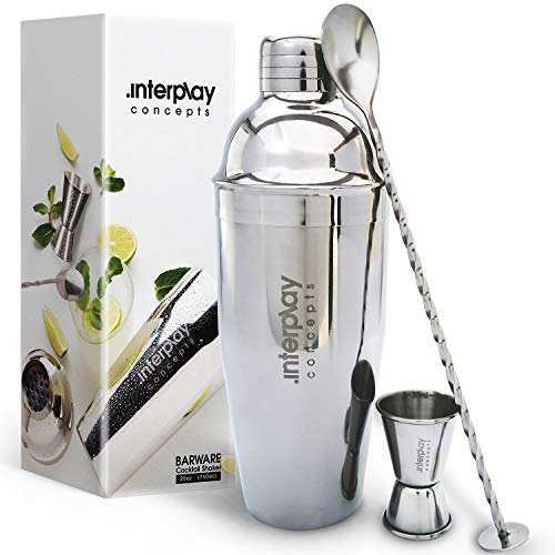 Interplay Concepts 5 Pieces Large 750ml Stainless Steel Cocktail Shaker Set With Strainer, Jigger and Mixing Spoon, Cocktail Set With Bar Accessories, Birthday Gifts for him