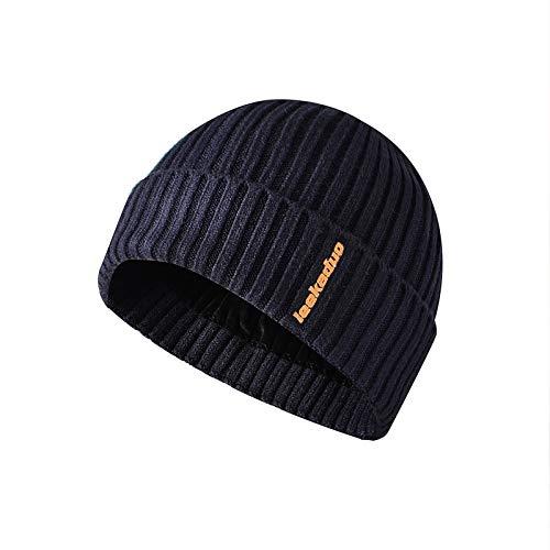 H/A CRCOG Invierno Sombreros Piel Guisantes Guisantes Sombreros Suelto Calavera Punto Sombrero Hombre Mujer esquiando Gorras Sombrero CRCOG (Color : Navy, Size : One Size)