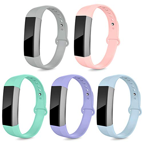 NAHAI Bands Compatible with Fitbit Alta HR/Fitbit Alta for Women Men, 5 Packs Soft Silicone Replacement Sport Strap Wristbands Accessories for Fitbit Alta