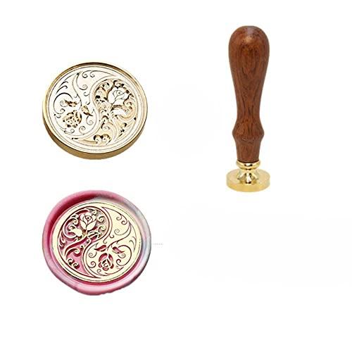 Sello de cera de invitación sellos DIY lindo animal ciervo patrón de sellado para scrapbooking artesanía mango de madera antiguo cobre Dropship-MH2, China