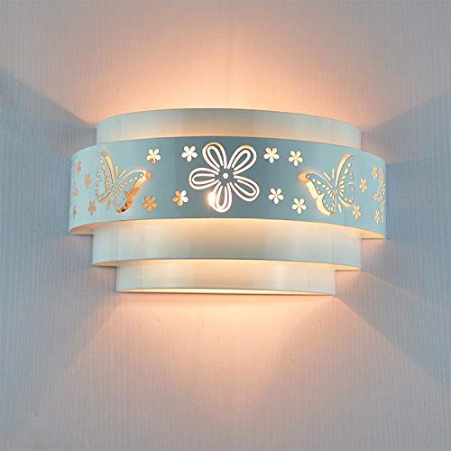 Lámpara de pared Lámparas de pared Minimalista Mariposa Flor Tallado LED E27 Luz de pared, Blanco Cubierta de hierro estereoscópico Frente (Lampshade Color : White)