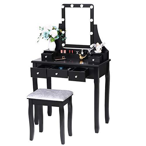 ANWBROAD Tavolo Cosmetici Vanity toeletta LED Toletta tavolino da Trucco con Sgabello Tavolo per Cosmetici specchiera 10 lampadine Tavolo per Acconciature 5 cassetti 2 organizzatori Nero BDT04B