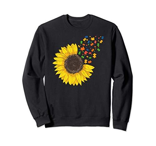 Sunflower Autism Awareness Month Sunflower Puzzle Pieces Sudadera