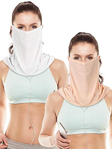 2 Pieces Unisex Face Cover Sun Protective Face Bandana Women UV Protection Face Scarf for Summer Outdoor Activities (White, Skin Color)