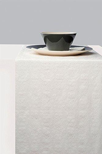 Ambiente Chemin de table Elegance Blanc brillant – Gravé environ 33 cm x 6 m Idéal pour fête, anniversaire, déco. 3 Ply Paper – Papier 3 plis