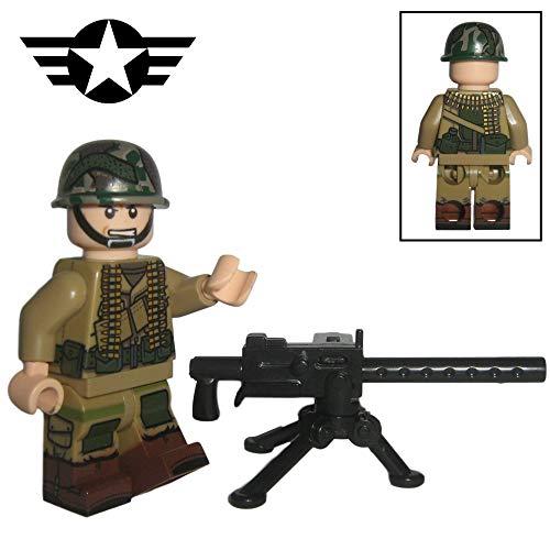 Custom Brick Design - WW2 Serie - US Army Soldat V.2 Figur - modifizierte Minifigur des bekannten Klemmbausteinherstellers und somit voll kompatibel zu Lego