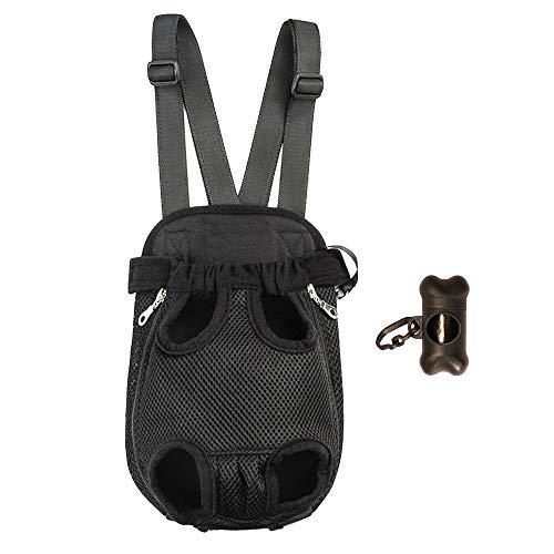 Petsidea Legs Out Brusttrage für Hunde, atmungsaktiv, mit breiten, verstellbaren Schultergurten, inklusive Hundekotbeutelspender (XL, schwarz)