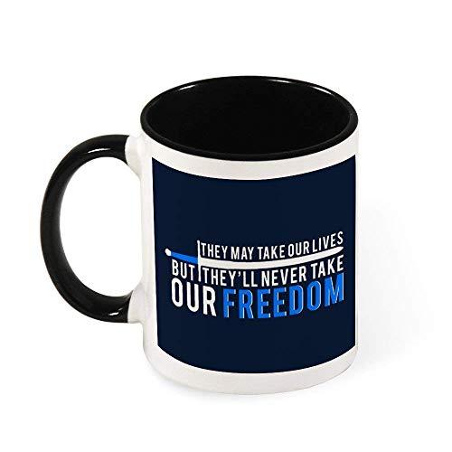 DJNGN They May Take Our Lives Freedom Braveheart Taza de café de cerámica Taza de té, regalo para mujeres, niñas, esposa, mamá, abuela, 11 oz