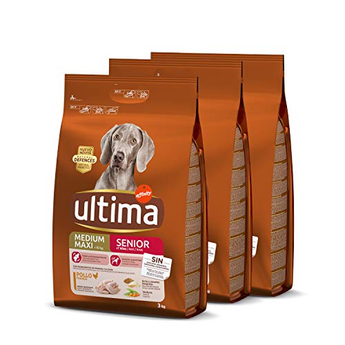 Ultima pienso para Perro Medium-Maxi Senior con pollo, pack de 3 x 3 kg - Total 9 kg