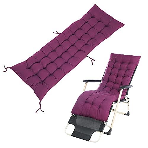 Cojín de cojín grueso para tumbona, cojín de repuesto para sillón reclinable de jardín, funda antideslizante para jardín, interior y exterior, 170 cm x 53 cm, repuesto de cojines de patio (lila)