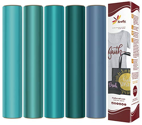 Firefly Craft Heat Transfer Vinyl Bundle | Ocean HTV Vinyl Bundle | Iron On Vinyl for Cricut and Silhouette | Pack of 5 Colors Including Aqua, Jade, Periwinkle, Teal & Turquoise - 12 x 20 Each