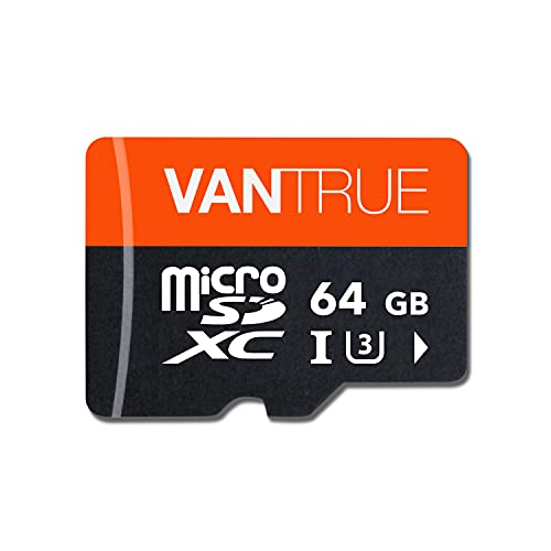 Vantrue 64GB microSD Card with Adapter, U3 UHS-I High Speed SD Card for Dash Cams & Home Security System Video Cameras