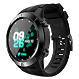Lepeuxi LOKMAT SMA-TK04 Smart Watch 1.3inch Screen BT3.0+4.0 Waterproof Pedometer Heart Rate Alarm Remote Camera GPS Sports Smartwatch Compatible with Android 4.4 / iOS 8.0 and Above Black
