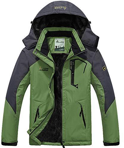 YIRUIRA Herren Stehkragen Softshelljacke Windschutz Jacket gefütterte Regenjacke mit Fleece Grün Größe L (Herstellergröße : CN 3XL)