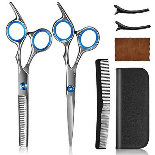 Haarschere Set 2 Extra Friseurscheren scharfer und präziser Schnitt, Haarschneideschere mit Etui, Professionelle Friseurscheren und Effilierschere, Perfekter Effilierschere für Damen und Herren