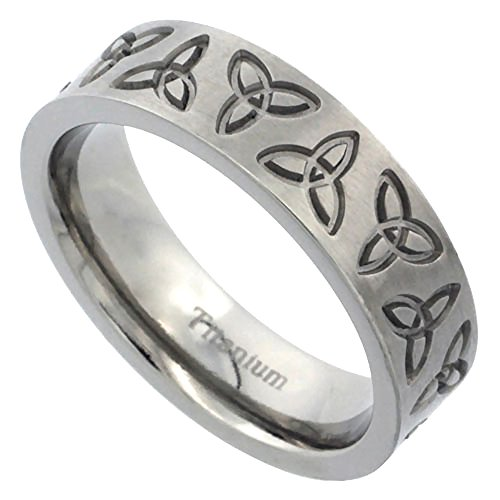 Sabrina Silver 6mm Titanium Wedding Band Triquetra Ring Celtic Trinity Flat Brushed Comfort Fit Size 7
