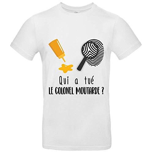 T-Shirt Premium - Manche Courte - Col Rond - Qui a Tue Le Colonel Moutarde cluedo - Enfant - Blanc - 12/14ans